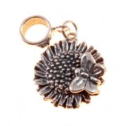 Sunflower With Butterfly 3D Sterling Silver Dangle Charm / Carrier Bead